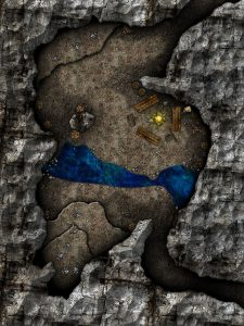 Cave map for the first epic-tier battle against the Orc Lord's minions.